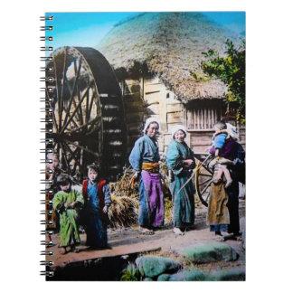 Mjölnaren och hans familj i gammal Japan vintage Anteckningsbok Med Spiral