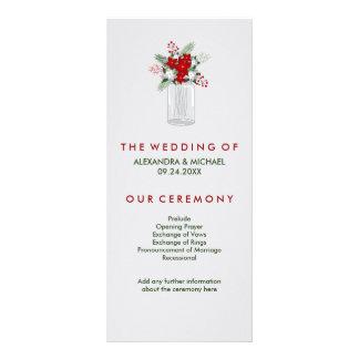 Mjuk bröllopsprogram för burk för Mason för Reklamkort