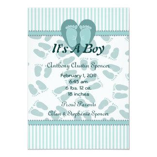 Mjuk fot pojkefödelsemeddelande 12,7 x 17,8 cm inbjudningskort