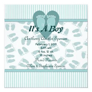 Mjuk fot pojkefödelsemeddelande fyrkantigt 13,3 cm inbjudningskort