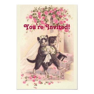 Mjuk rosa inbjudan för vintage bröllopkatter 12,7 x 17,8 cm inbjudningskort