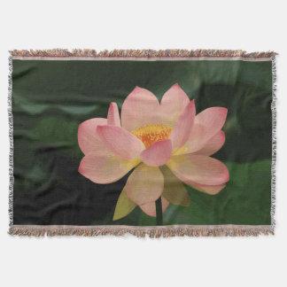Mjuk rosa lotusblomma för frodig grön Zenträdgård Mysfilt