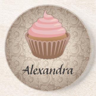 Mjuk rosa- och bruntmuffin, personligminnessak glasunderlägg