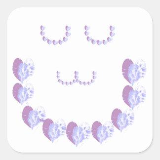 Mjuka purpurfärgade gröna STJÄRNOR för hjärtor n Fyrkantigt Klistermärke
