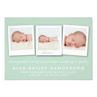 Mjukt grönt nyfödd bebisfödelsemeddelande med foto 12,7 x 17,8 cm inbjudningskort
