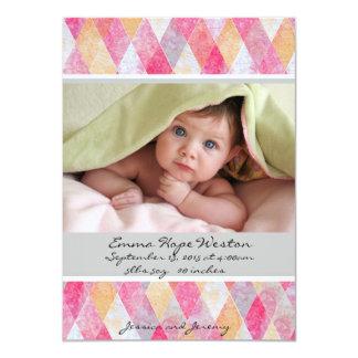 Mjukt rosa Argyle födelsemeddelande 11,4 X 15,9 Cm Inbjudningskort