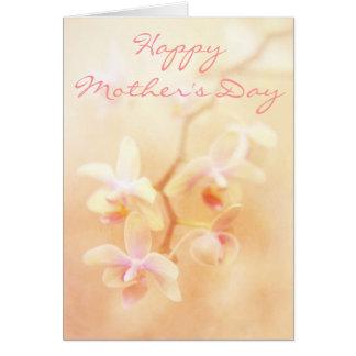 Mjukt & urblektt Orchidsmors dagkort Hälsningskort