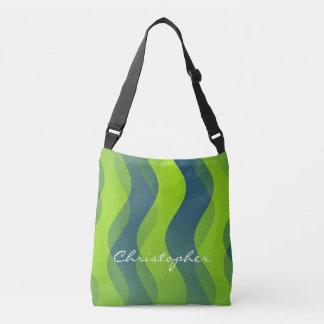 Mjukt vågarmönster - grön blått + dina idéer axelväska