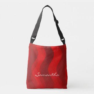 Mjukt vinkart rött batikmönster - + dina idéer axelväska
