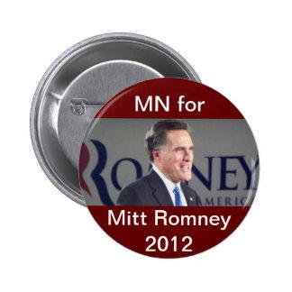 MN för politiska Mitt Romney 2012 knäppas Standard Knapp Rund 5.7 Cm