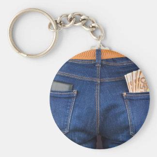 Mobil mobil och europengar i jeans rund nyckelring