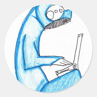 Mobil musikproducent - blått runt klistermärke