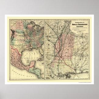 Mobil & nordvästlig järnvägkarta 1871 poster