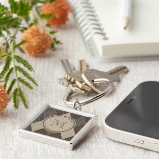 Mocka Chocca bruna Argyle med monogramen Fyrkantig Silverfärgad Nyckelring