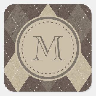 Mocka Chocca bruna Argyle med monogramen Fyrkantigt Klistermärke