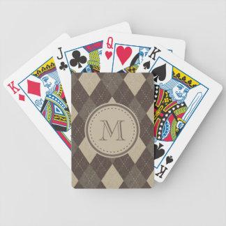 Mocka Chocca bruna Argyle med monogramen Spelkort