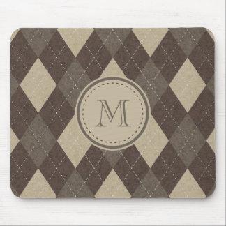 MockaChocca brun Argyle pläd med monogramen Musmattor