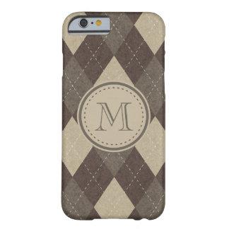 MockaChocca brunt Argyle mönster med monogramen Barely There iPhone 6 Fodral