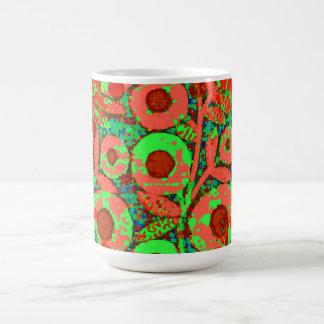 Mod-Floral-70's_Retro_Lime_Orange Magisk Mugg