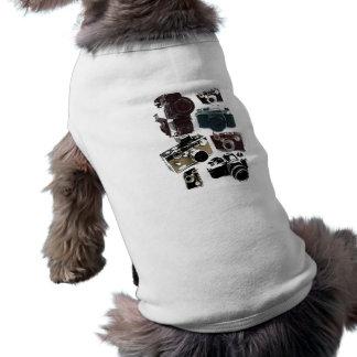 Mode för kameror för vintageGrunge Retro Hund Tshirt