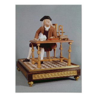 Modellera av Benjamin Franklin på hans bord Poster