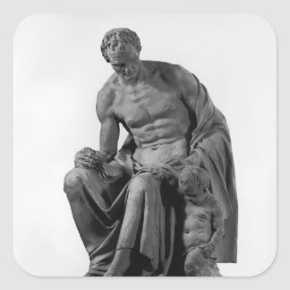 Modellera för en monument till Jean-jacques Fyrkantigt Klistermärke