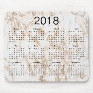Moderiktig elegant guld- kalender för marmor 2018 musmatta