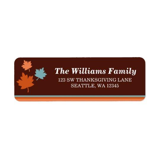 Moderiktig höst löv thanksgivingadressetikett returadress etikett