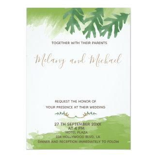 Moderiktig modern grönskavattenfärghöst 14 x 19,5 cm inbjudningskort