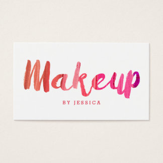 Moderiktig modern rosa Makeupkonstnär Visitkort