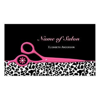 Moderiktig rosa och svart sax för Leopardhårsalong Set Av Standard Visitkort