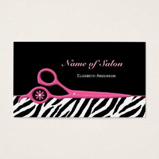 Moderiktig rosa och svart sax för sebrahårsalong visitkort