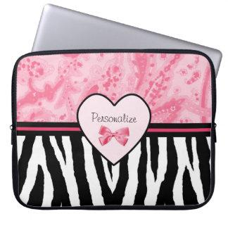 Moderiktig rosa och svart zebra mönstrad pilbåge laptopskydd fodral