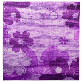 Moderiktig violett blom- vintage tygservett