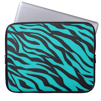 Moderiktig zebra ränder för krickaturkossvart datorskydds fodral
