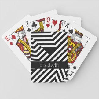 Moderiktiga svartvita geometriska randar med namn spelkort