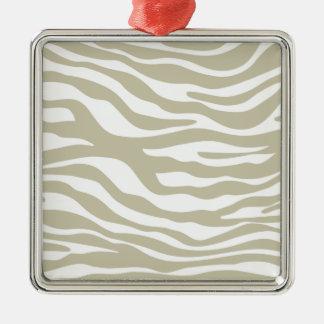 Moderiktigt beige zebra tryckmönster julgransprydnad metall