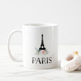 Moderiktigt Eiffel torn och rosa blommor för Kaffemugg