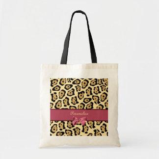 Moderiktigt jaguartryck med den rosa bandpilbågen tygkasse