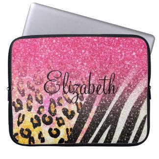 Moderiktigt leopardtryck för fantastisk flickaktig laptopfodral