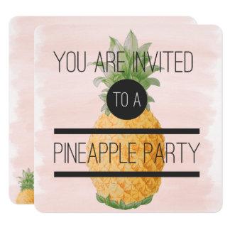 Moderiktigt och roligt ananasparty fyrkantigt 13,3 cm inbjudningskort