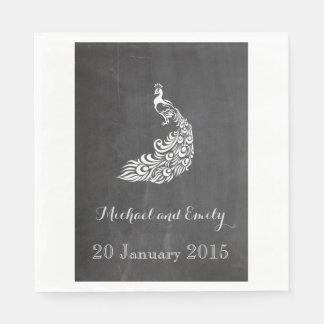 Moderiktigt romantiskt bröllop för svart tavla för papper servetter