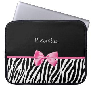 Moderiktigt svartvitt zebra tryckrosaband laptop datorfodral