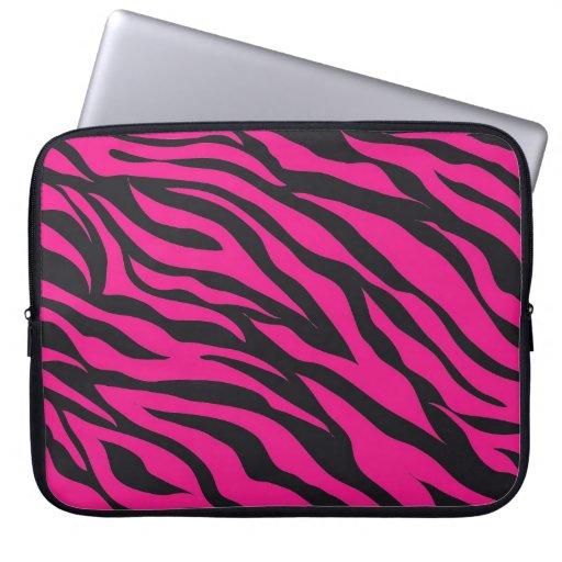 Moderiktigt tryck för zebra ränder för shock rosaF Laptop Datorskydd