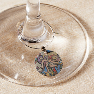 Modern abstrakt blomma berlock vinglas