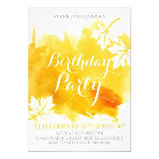Modern abstrakt vattenfärggultfödelsedagsfest 12,7 x 17,8 cm inbjudningskort