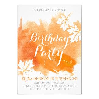 Modern abstrakt vattenfärgorangefödelsedagsfest 12,7 x 17,8 cm inbjudningskort