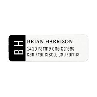 modern adressetikett med namn och initialer
