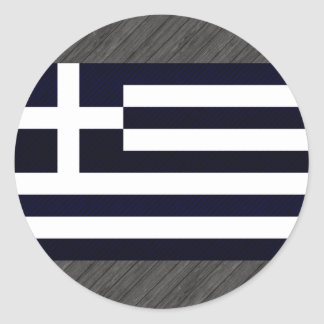 Modern avriven grekisk flagga rund klistermärke
