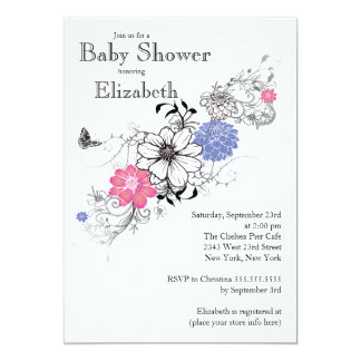 Modern blom- genderneutraltbaby shower 12,7 x 17,8 cm inbjudningskort